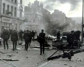 Rioting at North boundary street. 275x220 - Belfast Walking and Taxi Tours